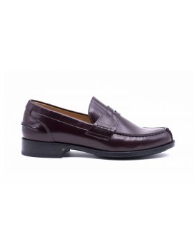 Woman college moccasin in shiny leather-Bordeaux-38