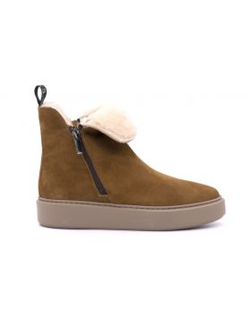 WOMAN ANKLE BOOT SHEARLING RUBBER SOLE-BRU-35