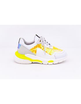 WOMEN'S LEATHER AND PAILLETTES SNEAKER-ABB3