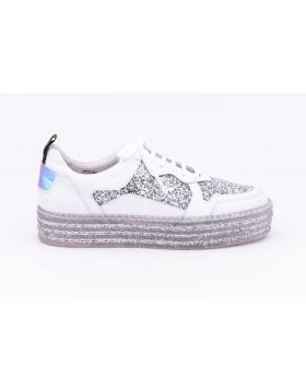 WOMEN'S LEATHER AND GLITTER SNEAKER